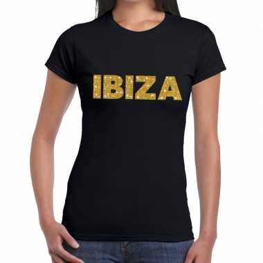 Goedkope ibiza gouden glitter tekst t shirt zwart dames
