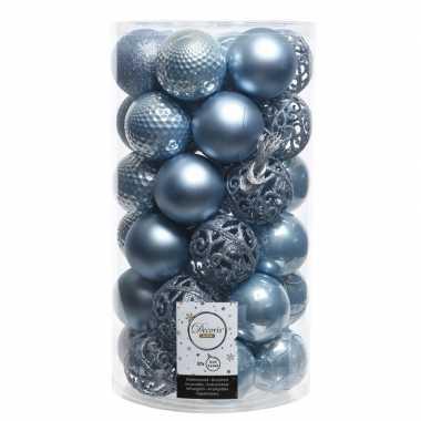 Goedkope ijsblauwe kerstversiering kerstballenset kunststof stuks