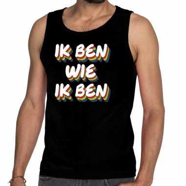 Goedkope ik ben wie ik ben gay pride tanktop/mouwloos shirt zwart he