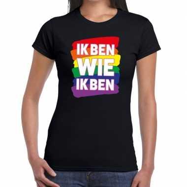 Goedkope ik ben wie ik ben regenboog gaypride shirt zwart dames