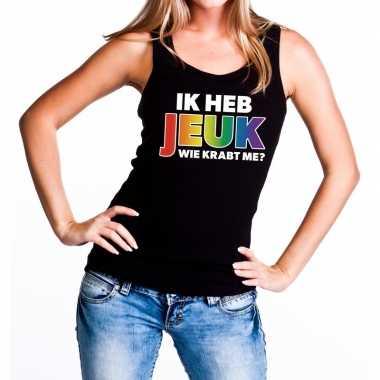 Goedkope ik heb jeuk regenboog gaypride tanktop/mouwloos shirt dames
