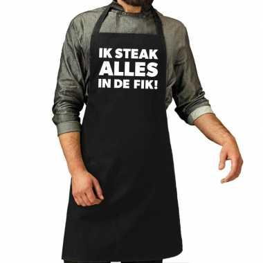 Goedkope ik steak alles fik! barbeque schort / keukenschort zwart v