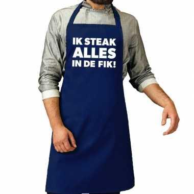 Goedkope ik steak alles fik bbq schort / keukenschort kobalt heren