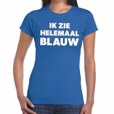 Goedkope ik zie helemaal blauw tekst t shirt dames