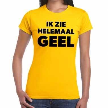 Goedkope ik zie helemaal geel tekst t shirt dames