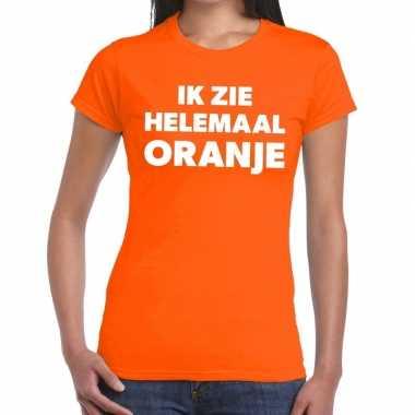 Goedkope ik zie helemaal oranje tekst t shirt dames