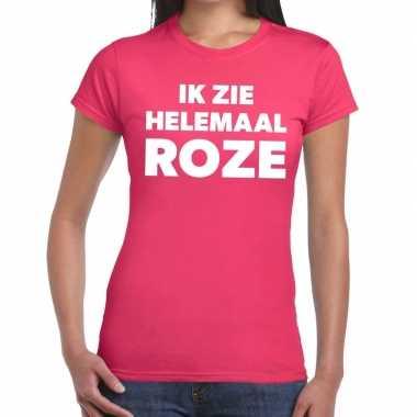 Goedkope ik zie helemaal roze tekst t shirt dames