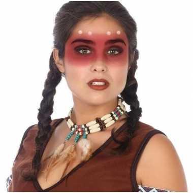 Goedkope indianen verkleed accessoire ketting kralen veren