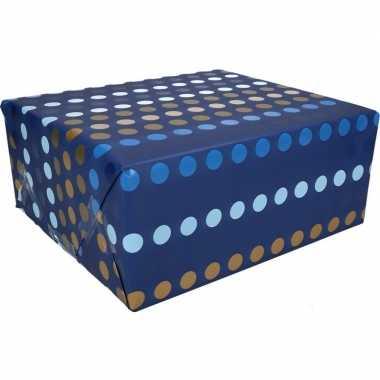 Goedkope inpakpapier blauw stippen motief rol type