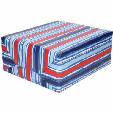 Goedkope inpakpapier/cadeaupapier blauw/rood gestreept rol