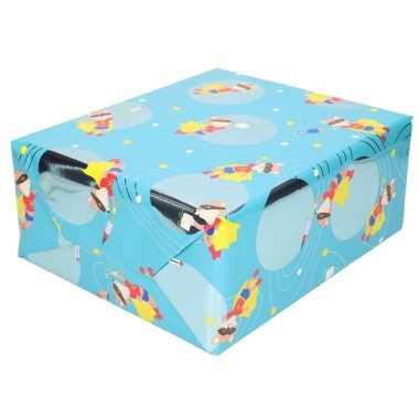 Goedkope inpakpapier/cadeaupapier blauw vos masker rol