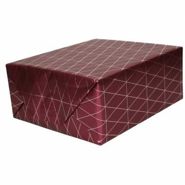 Inpakpapier/cadeaupapier bordeauxrood/gouden goedkope