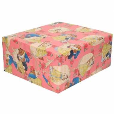 Goedkope inpakpapier/cadeaupapier disney belle beest roze c