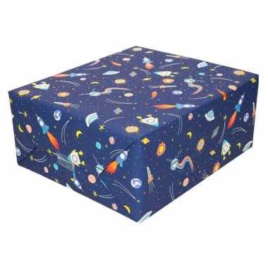 Goedkope inpakpapier/cadeaupapier donkerblauw raketten rol