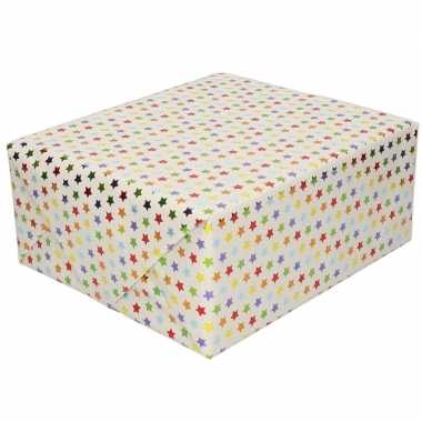 Inpakpapier/cadeaupapier gekleurde sterretjes goedkope