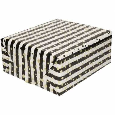 Goedkope inpakpapier/cadeaupapier metallic goud/zwart/wit