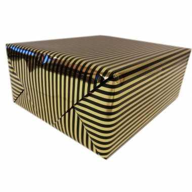 Goedkope inpakpapier/cadeaupapier metallic goud/zwart