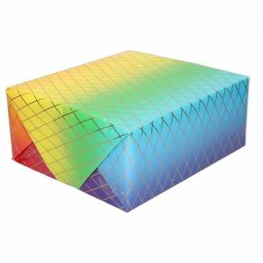 Goedkope inpakpapier/cadeaupapier regenboog kleuren