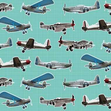 Goedkope inpakpapier/cadeaupapier vliegtuigen mintgroen