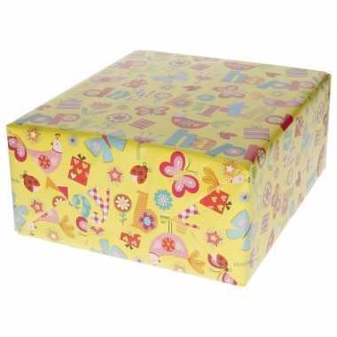 Goedkope inpakpapier/cadeaupapier vlinder/bloem design rol