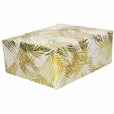 Inpakpapier/cadeaupapier wit/gouden palmbomen goedkope