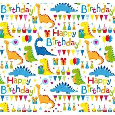 Goedkope inpakpapier/cadeaupapier wit happy birthday