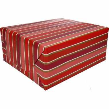 Goedkope inpakpapier rood/roze strepen rol type