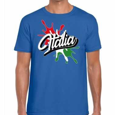 Goedkope italia/italie t shirt spetter blauw heren