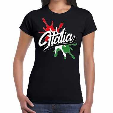 Goedkope italia/italie t shirt spetter zwart dames
