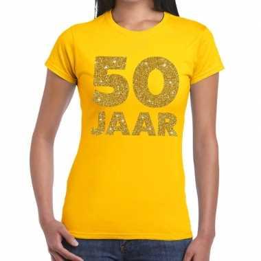 Goedkope jaar goud glitter verjaardag/jubileum kado shirt geel dames