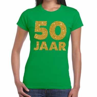 Goedkope jaar goud glitter verjaardag/jubileum kado shirt groen dames