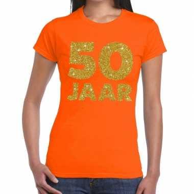 Goedkope jaar goud glitter verjaardag/jubileum kado shirt oranje dame