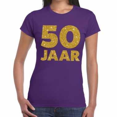 Goedkope jaar goud glitter verjaardag/jubileum kado shirt paars dames