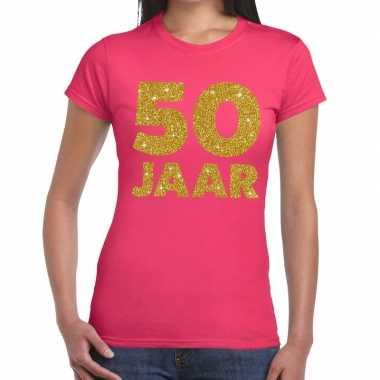 Goedkope jaar goud glitter verjaardag/jubileum kado shirt roze dames