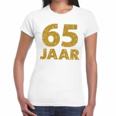 Goedkope jaar goud glitter verjaardag/jubileum kado shirt wit dames