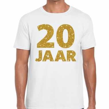 Goedkope jaar goud glitter verjaardag/jubileum kado shirt wit heren