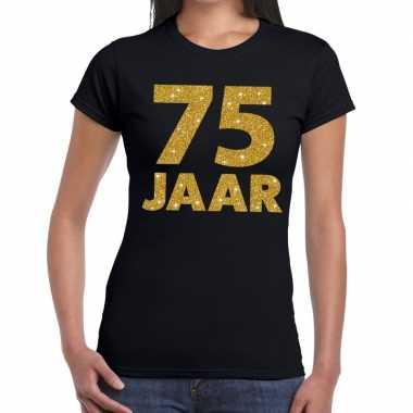 Goedkope jaar goud glitter verjaardag/jubileum kado shirt zwart dames