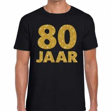 Goedkope jaar goud glitter verjaardag/jubileum kado shirt zwart heren