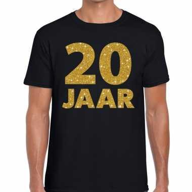 Goedkope jaar goud glitter verjaardag/jubilieum kado shirt zwart here