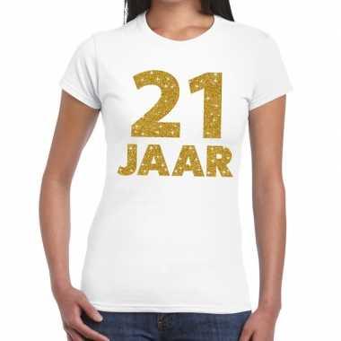 Goedkope jaar goud glitter verjaardag kado shirt wit dames