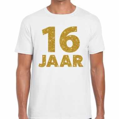 Goedkope jaar goud glitter verjaardag kado shirt wit heren