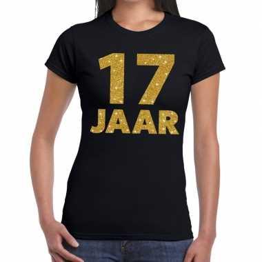 Goedkope jaar goud glitter verjaardag kado shirt zwart dames
