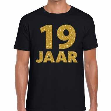 Goedkope jaar goud glitter verjaardag kado shirt zwart heren