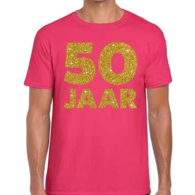 Goedkope jaar goud glitter verjaardag t shirt roze heren