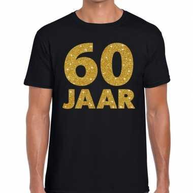 Goedkope jaar gouden glitter tekst t shirt zwart heren