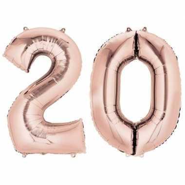 Goedkope jaar rose gouden folie ballonnen leeftijd/cijfer