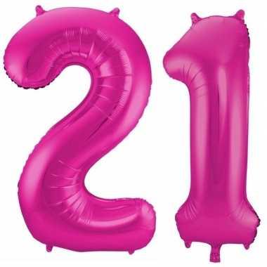 Goedkope jaar roze folie ballonnen leeftijd/cijfer