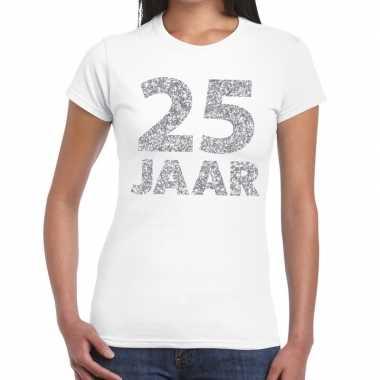 Goedkope jaar zilver glitter verjaardag/jubileum kado shirt wit dames