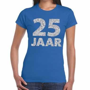 Goedkope jaar zilver glitter verjaardag/jubileum shirt blauw dames
