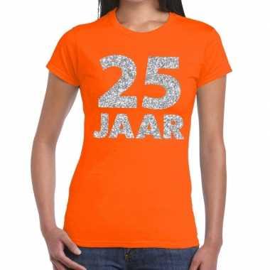 Goedkope jaar zilver glitter verjaardag/jubileum shirt oranje dames